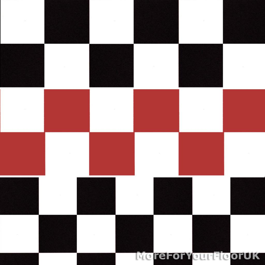 New Chessboard Vinyl Flooring Roll Quality Lino Black White Red Kitchen Cheap Ebay